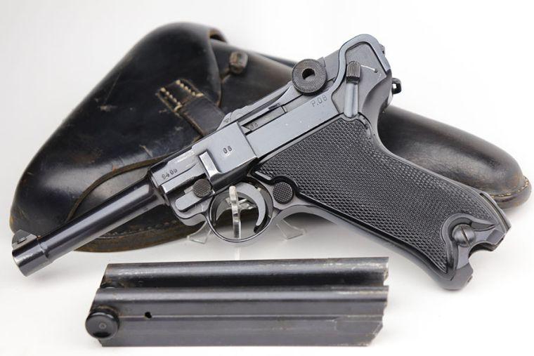 SOLD - Excellent Black Widow Mauser Luger Rig