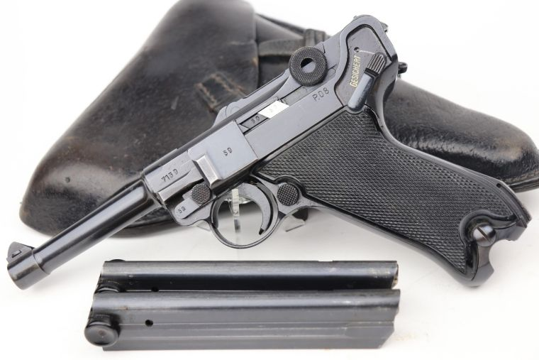 Minty Black Widow Luger Rig - Rare Pigskin Holster