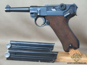 SOLD - 1939 Mauser Banner Police Luger Rig - 2 Matching Magazines