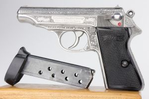 SOLD - Engraved Walther PP - Rare Box Magazine