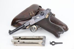 1936 Nazi Mauser Luger Rig - Two Matching Mags