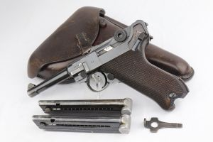 1938 Nazi Mauser Luger Rig - Two Matching Magazines